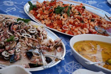 prepared shellfish: Seafood in italian restaurant