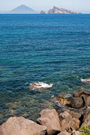 eolie: Stromboli volcano at eolie island, Sicily, Italy, Europe Stock Photo