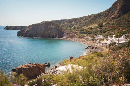panarea: Beach of Panarea in the Aeolian Islands, Sicily in Italy
