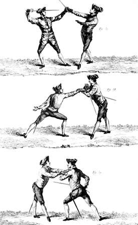 fencing foil: fencing of the eighteenth century Illustration was published in the Tables of the Encyclopedia 1762-1777 of Denis Diderot.