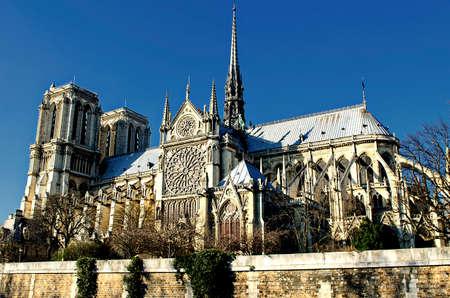 french culture: Notre Dame de Paris on the Seine river.