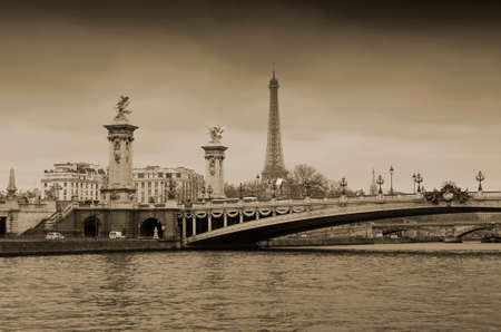 iii: Eiffel Tower and Pont Alexandre III over the Seine in Paris, France Stock Photo