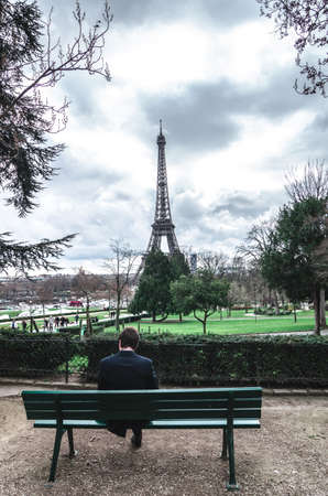 lonesome: Paris and Eiffel tower from Trocadero with lonesome Man