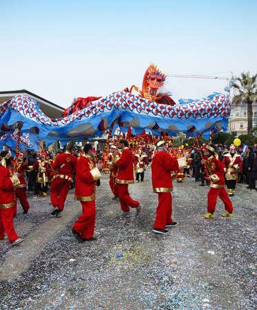 viareggio: Viareggio, Italy - February 24, 2010: Parade float with Chinese dragon During The Carnival of Viareggio on the Tuscany Italy. Editorial