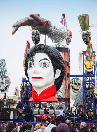 Viareggio, Italy - February 24, 2010: Parade float During The Carnival of Viareggio on the Tuscany Italy. The theme is the death of pop singer Michael Jackson