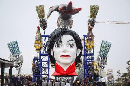 michael jackson: Viareggio, Italy - February 24, 2010: Parade float During The Carnival of Viareggio on the Tuscany Italy. The theme is the death of pop singer Michael Jackson