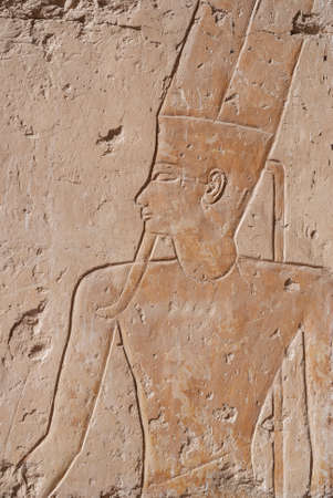 hieroglyphics: historical egypt hieroglyphics carved on the temple Stock Photo