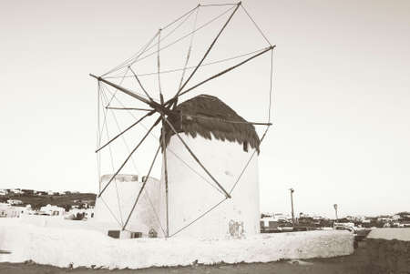 myconos: traditional windmills in Chora Mykonos Greece