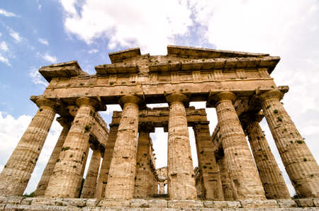 archaeological: Temple of Neptune the famous Paestum archaeological  site . Italy