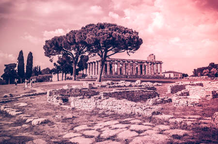 athena: archaeological site of Paestum in Italy, Greek Temple of Athena Stock Photo