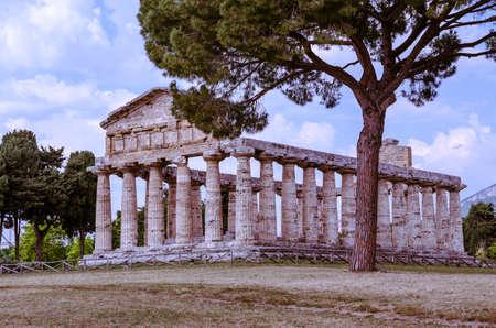 athena: Greek Temple of Athena in Paestum. Italy