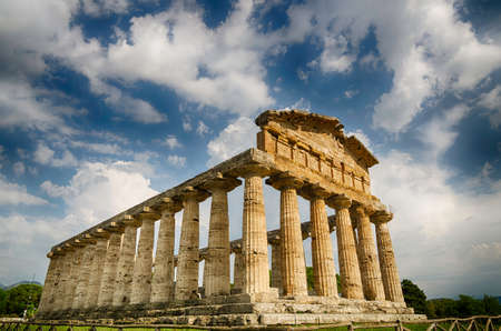 roman pillar: archaeological site of Paestum in Italy, Greek Temple of Athena Stock Photo