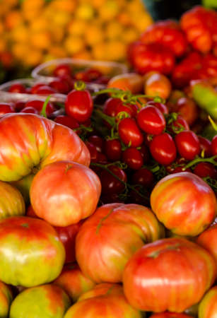 Tomatoes of various types Stock Photo