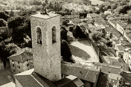 fro: aerial view of San Gimignano fro the tower in Tuscany Italy