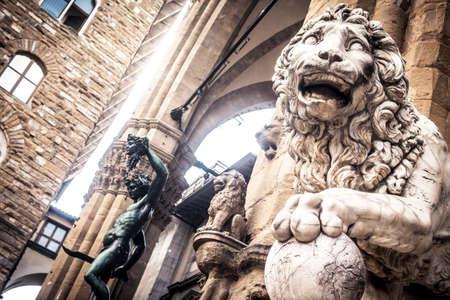 dei: Lion at Loggia dei Lanzi in Piazza della Signoria, Florence