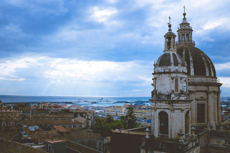 catania: Catania, dome and bell tower of SantAgata Cathedral, Sicily Italy Stock Photo