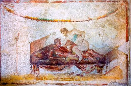 Erotic art in Pompeii. Ancient Roman fresco in Pompeii brothel