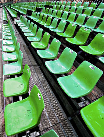 Row of the green stadium seat.
