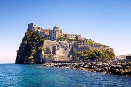 Ischia Ponte with castle Aragonese in Ischia island, Bay of Naples Italy