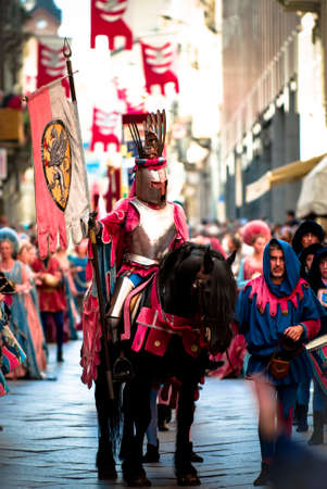 Knight riding in the historic parade