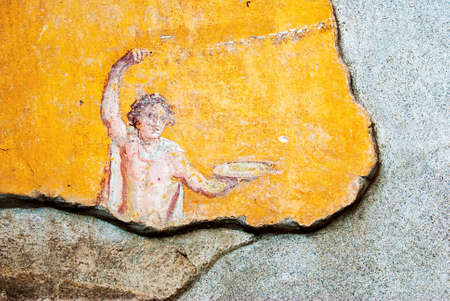 Especially deity of fresco house, in ancient Pompeii. Banque d'images