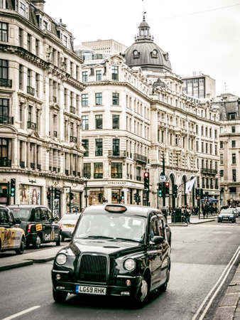 London black taxis in Oxford street Editorial