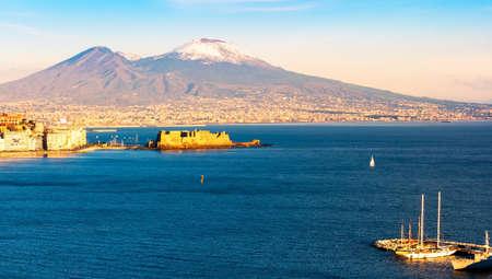 Aerial scenic view of Naples with Vesuvius volcano Stock Photo