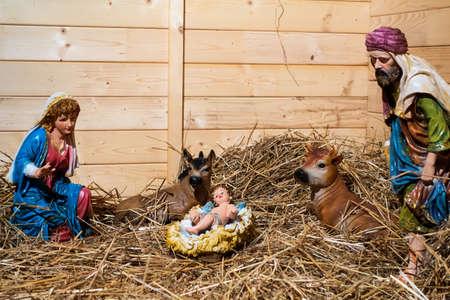 creche: nativity scene in the stable