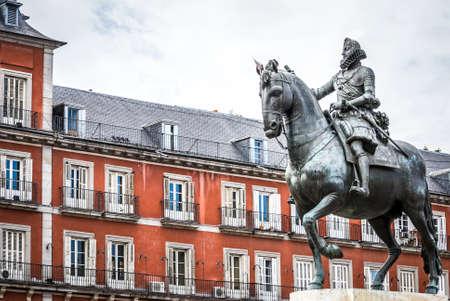 Madrid Plaza Mayor with statue of king Philips III in Spain Stock Photo