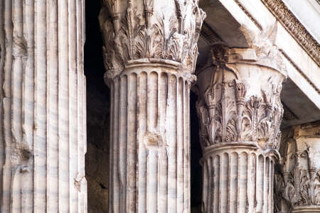 Corinthian columns of the ancient Adrianos temple Stock Photo