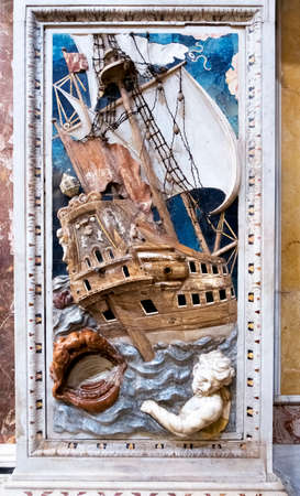 Palermo, Italy - April, 2018: The baroque decoration, marble inlays of Jonah and the whale in Santa Caterina church in Palermo. italy Фото со стока - 105295817
