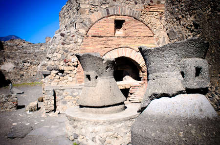 Bakery in Pompeii. Pompeii was destroyed by the eruption of the volcano Vesuvius in AD 79.