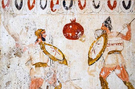 Paestum, fresques antiques dans la tombe des guerriers de combat, Italie