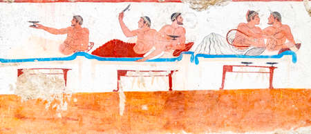 Paestum, ancient frescoes in the tomb of the diver, Italy