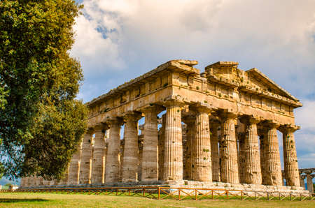 The Temple of Hera II, also called the Temple of Neptune, is a Greek temple in Paestum, Italy Stock Photo