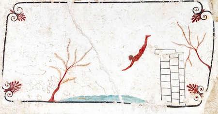 Paestum, Ancient Greek Fresco Divers Tomb. Italy