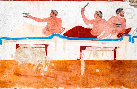 Paestum, ancient frescoes in the tomb of the diver Stock Photo