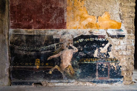 Centaur painted on the wall of a house in Pompeii