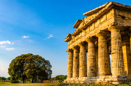 Archaeological site of Paestum , Temple of Neptune Stock Photo - 120092611