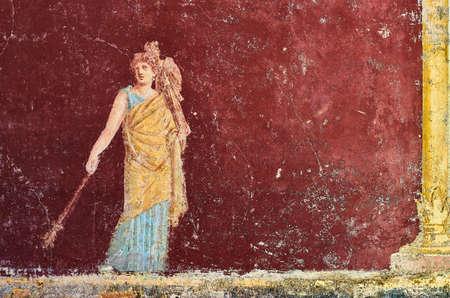 Figure de femme peinte dans une fresque dans une domus de Pompéi, Italie