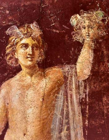 Fresque de Persée avec la tête de Méduse dans une Domus de Pompéi