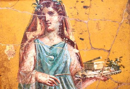 Figure de femme peinte dans une fresque dans une domus de Pompéi