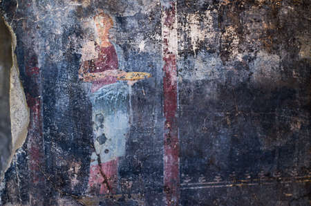 Figure of a woman painted in a Cool on black background in a Domus of Pompeii