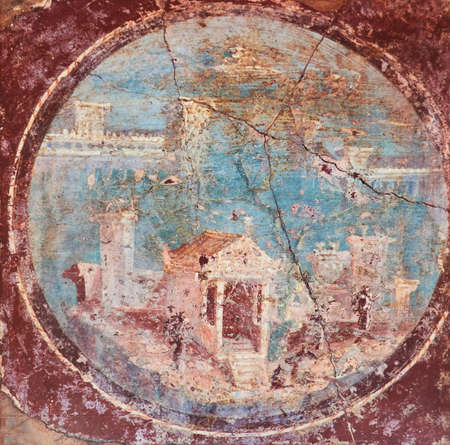 ancient Roman villa in fresco on a red background in a Domus of Pompeii
