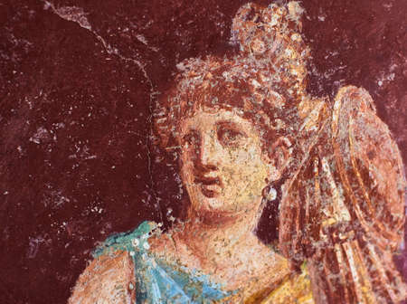 Figure of a woman painted in a Fresco in a Domus of Pompeii Banque d'images - 120092844