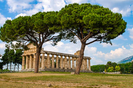 Temple of Athena at Paestum was an ancient Greek city in Magna Graecia Banque d'images - 120092855