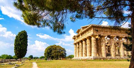 Paestum , Temple of Neptune or Hera II. Italy Stock Photo