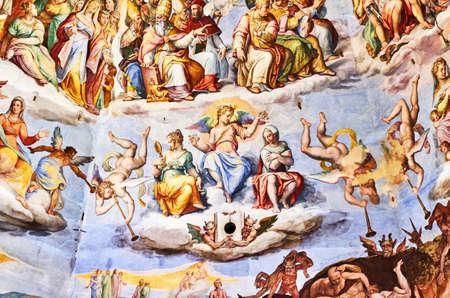 fresque peinte par Giorgio Vasari dans le dôme de la cathédrale de Florence, Italie