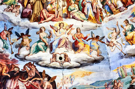 fresco painted by Giorgio Vasari in the dome of the cathedral of Florence, Italy Banque d'images - 120092908