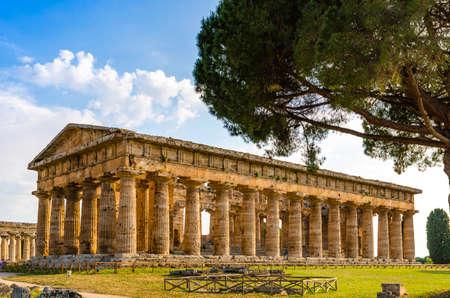 Paestum , Temple of Neptune or Hera II. Italy Stock Photo - 120092911
